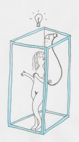 vrouw onder douche